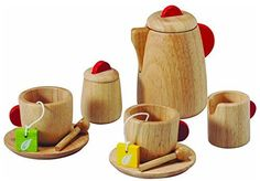 Plan Toys Tea Set is a sweet wooden toy tea set made of eco-friendly rubber wood. Fun for playing house, learning to set the table, and tea parties with friends. Toys For Little Kids, Kids Toys, Slime Transparent, Play Kitchen Accessories, Tee Set, Plan Toys, Kids Birthday Gifts, Natural Toys, Natural Baby