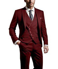 Pretygirl Men's 3-Pieces Wedding Business Suit Sets Shawl Lapel Blazer Vest and Trousers Fomal Suit For Wedding at Amazon Men's Clothing store: