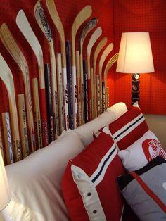 Decorating ideas for kid's room -- Hockey stick heardboard -- Bachman's Idea House -- via rosebudscottage
