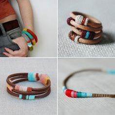 African tribal inspired jewelry handcrafted by Portuguese artist Maria Joao Ribeiro of Kjoo. Love the lovely contrast of leather and colorful thread.