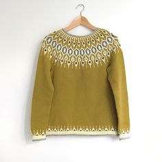 Ravelry: Telja pattern by Jennifer Steingass Big Knit Blanket, Icelandic Sweaters, Big Knits, I Cord, Knit In The Round, Fair Isle Knitting, Yellow Sweater, Types Of Sleeves, Knit Crochet