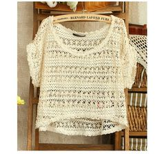 b71e95c50915 Kawaii Cute Short sleeved Hollow Out Crochet T-shirt Ropa Crochet