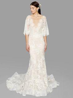 three quarter sleeve mermaid lace wedding dress from Marchesa bridal fall 2017   itakeyou.co.uk #weddingdresses #wedding #weddingdress #bridalgown #weddinggown