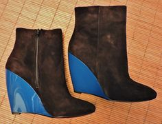 Pour La Victoire black suede ankle boots with blue wedges, NWT $295 | eBay