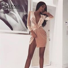 2a5c149672e7 US $17.95 32% OFF|Fuedage Winered Deep V Neck Summer Dress Women Long  Sleeve Cross Bow Sexy Dress Midi Club Bodycon Bandage Party Dresses Vestidos-in  ...
