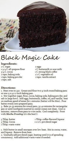 BLACK MAGIC CAKE- This is a Hershey cake and so is the frosting, but the frosting was listed with brownies. In my opinion, the mocha frosting MAKES this cake! Baking Recipes, Cake Recipes, Dessert Recipes, Sour Milk Recipes, Hershey Cake, Cake Ingredients, Chocolate Desserts, Cake Chocolate, Chocolate Smoothies
