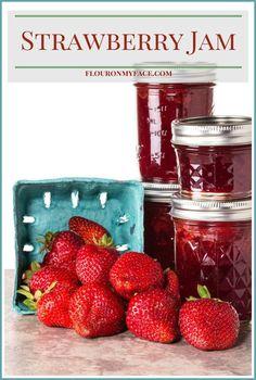Homemade Strawberry Jam recipe made with fresh from Florida strawberries via flouronmyface.com