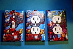 Avengers Hulk Iron Man Captain 3 pc Set Light Switch Cover boys room child decor