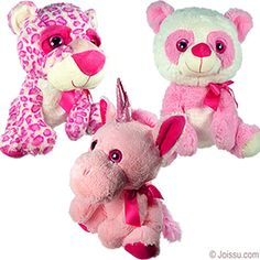 PLUSH BIG-EYED PINK ANIMALS. With huge sparkly button eyes, fuzzy noses, silky bows and super-soft furry bodies, these will delight any stuffed animal collector. Assorted styles. Sorry, no style choice available.  Size 15 Inches sitting