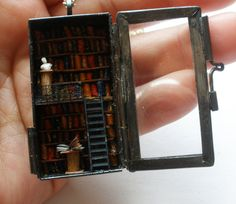 tiny library in a locket 144 scale micro miniature by tinyminds, $55.00