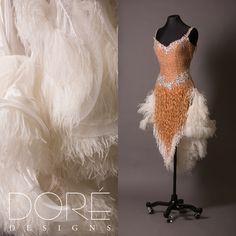 Nude CHRISANNE Latin w/ Fringe & White Feather Boas & Accessories