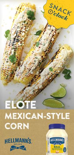 Looking for a snack that's no fuss and all flavor? These lime and chili-spiced ears grill up in no time. Mexican Dishes, Mexican Food Recipes, New Recipes, Cooking Recipes, Favorite Recipes, Healthy Recipes, Healthy Snacks, Cooking Cake, Mexican Corn