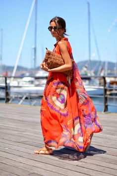 Orange Floral Round Neck Sleeveless Dress