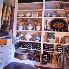 Room envy:  Bunny Williams storage room for entertaining items.