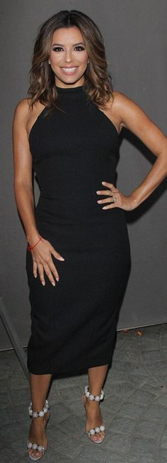 Who made  Eva Longoria's nude sandals and black dress?