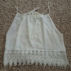 Staring at the stars Lace white tank small Good condition! Urban Outfitters Tops Tank Tops