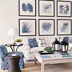 #Coastal blues dominate the beach scene. #Color confidence in #art can launch your decorative palette. Love the natural monochromatic photographs!