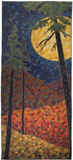Art quilts, fabric art, fiber art by marquita Kunststeppdecken, Stoffkunst, Faserkunst von marquita Landscape Art Quilts, Landscapes, Landscape Photos, Landscape Photography, Diy Vintage, Quilt Modernen, Tree Quilt, Art Textile, Sewing Art