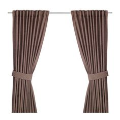 "IKEA - INGERT, Curtains with tie-backs, 1 pair, 57x98 "", , The curtains lower the general light level and provide privacy by preventing people outside from seeing directly into the room.The curtains can be used on a curtain rod or a curtain track.The heading tape makes it easy for you to create pleats using RIKTIG curtain hooks.You can hang the curtains on a curtain rod through the hidden tabs or with rings and hooks."