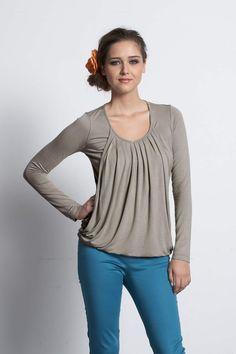 Mothers En Vogue Long Sleeved Slouchy Pleated Nursing Top, Dusky Grey Olive - Izzy's Mum Breastfeeding Clothing
