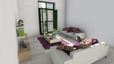 Salón de apartamento con pared de ladrillos blancos.