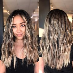 Asian Hair Highlights, Blonde Asian Hair, Balayage Asian Hair, Brown Blonde Hair, Hair Color Balayage, Bronde Balayage, Baylage On Dark Hair, Asians With Blonde Hair, Blonde Balayage Highlights On Dark Hair
