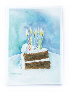Birthday Cake Watercolor Birthday Card by SusanWindsor on Etsy Watercolor Birthday Cards, Watercolor Christmas Cards, Watercolor Cards, Simple Watercolor, Watercolor Painting, Birthday Cake Illustration, Watercolor Projects, Paint Cards, Birthday Greetings