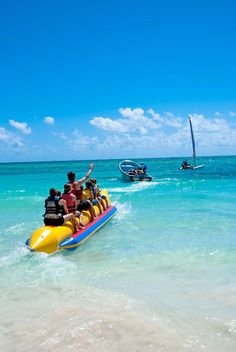 Whenever she goes jet skiing she brings the banana boat and takes her family and friends with her to have a good time and create memories.