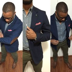 #street #style #men #fashion Men's fashion Blue Blazer sports jacket with brown elbow patches, blue Chambray oxford shirt, green chinos pants, Pink pocket square , brown oxford wingtip shoes brown watch, glasses