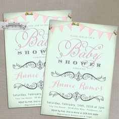 Baby Shower Invitations for a girl, Pink and Mint Baby Girl, Printable Invitation or Printed Cards, Whimsical Shabby Chic Bunting Roses by Cloud9Factory on Etsy https://www.etsy.com/listing/207523811/baby-shower-invitations-for-a-girl-pink