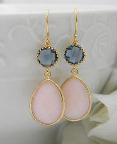 Peach Earrings, Navy Gold Earrings, Champagne Wedding Earrings, Drop, Dangle Earrings, Bridesmaid Gifts, Sapphire Earrings, Navy Earrings