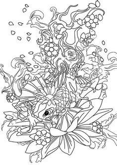 Free koi pond with lillies adult coloring book image from for Koi pond color