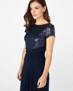 Phase Eight Sinnita Sequin Full Length Dress Blue