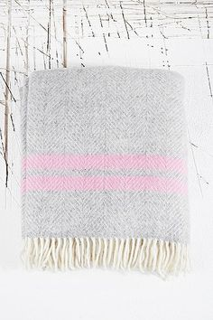 Tweedmill Fishbone Blanket in Grey - Urban Outfitters
