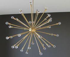 """Lynlee Chandelier by Jordan James, 48.5""""dia 54.4-90.5""""drop, brass w/ crystal spheres, $5995"""