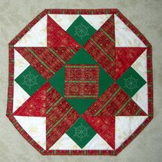 19 Red and Green Octagon Star Christmas by StitchesandSparkles, $21.00