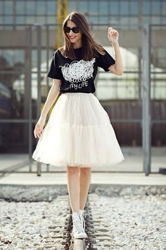 Raquel Falomir - Front Row Tee, Asos Skirt, Converse Shoes - RAILWAY