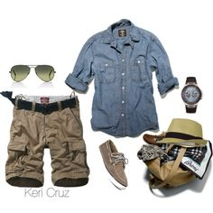 Summer getaway... by keri-cruz on Polyvore featuring Ray-Ban, Sperry Top-Sider, GUESS and Brioni