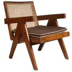 Pierre Jeanneret Caned Teak Easy Armchair from Chandigarh, India  $8,500