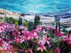 This large painting has been on my easel for what seems like eternity!! I worked on it so much, enjoying the process..incorporating lots of emotion and good feeling..some bold strokes, some softer, and lots of spring! Finally, IT. IS. FINISHED. Pink flowers, Springtime Jerusalem painting