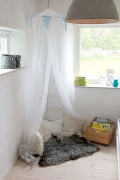 ikea fly net canopy with cozy pillows and a dog bed would be my pups comfy corner with tote of chew toys rather then books 8)