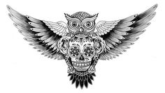 Owl and Skull tattoo design by Nicholas Christowitz.