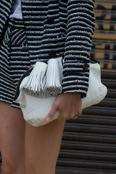 Burberry tassel clutch with cute tweed shorts suit