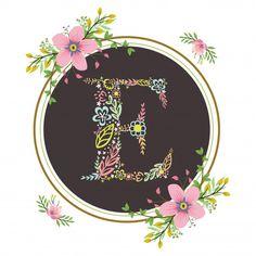 Letter e initial with floral vector Premium Vector Fancy Letters, Floral Letters, Alphabet Design, Alphabet Art, Flower Background Wallpaper, Flower Backgrounds, Letter E Art, Monogram Wallpaper, Beautiful Landscape Wallpaper