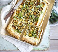 Courgette ricotta tart from BBC Good Food Magazine Home Cooking Series: Vegetarian Summer (Summer Tart Recipes, Veggie Recipes, Vegetarian Recipes, Bbc Good Food Recipes, Cooking Recipes, Cooking Ideas, Ricotta Tart Recipe, Zucchini Tart, Asparagus Bacon