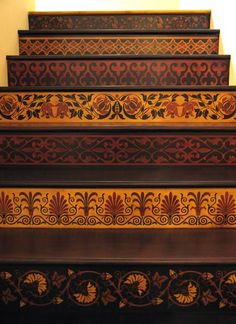 Forget that runner! Stenciled Stairway in Royal Design Studio. Link has info on tutorial manual! - Decoration for House Stenciled Stairs, Painted Stairs, Painted Floors, Wooden Stairs, Stained Staircase, Mosaic Stairs, Tile Stairs, Stairmaster, Stair Risers