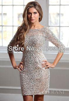 Parlak cw117 ücretsiz gönderim v- Boyun boncuklu kısa geri payetler parti elbiseler 2013 3/4 uzun kollu gece elbisesi-resim-Artı boyutu Elbise & Etek-ürün Kimliği:1312871721-turkish.alibaba.com