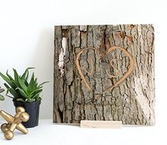 Personalized Memory Tree Bark Keepsake - Engraved Heart Shape with Custom Initials or Text onto Real Wood Canvas | Initial Gifts | Couple's Gift | Wedding Gifts | 5th Anniversary Gifts Valentine Gifts -- Awesome products selected by Anna Churchill