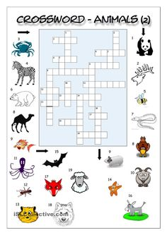 Crossword with picture clues containing ANIMALS. A good way to revise or enhance students´ general vocabulary and spelling skills.