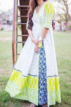 White Block Printed Angrakha Style Long Anarkali Kurti